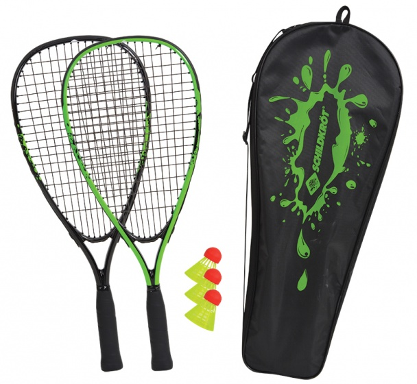 badmintonset 5-delig zwart/groen