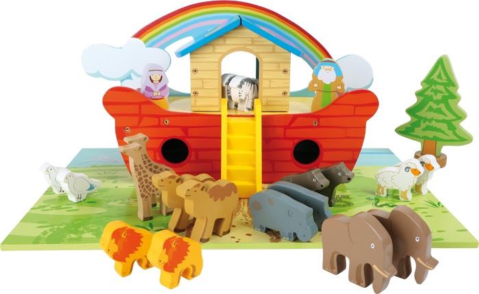 Speelset van hout ''Ark van Noach''
