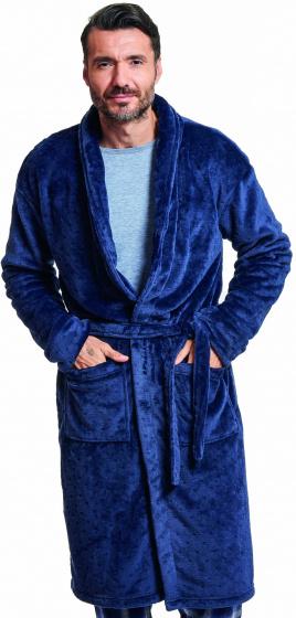 badjas heren polyester donkerblauw one-size