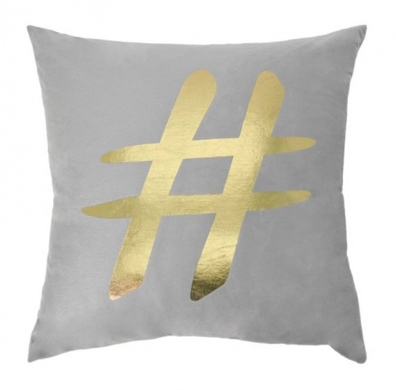 kussen Hashtag 45 x 45 cm textiel grijs/goud