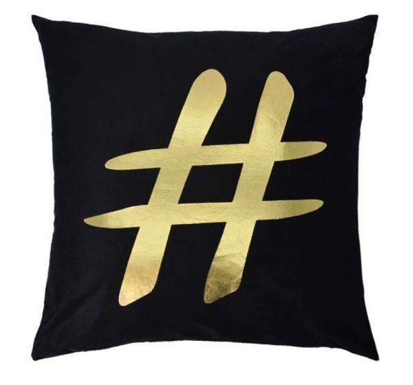 kussen Hashtag 45 x 45 cm textiel zwart/goud
