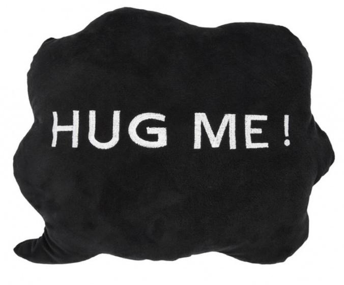 kussen HUG ME! wolk 35 x 30 x 10 cm pluche zwart