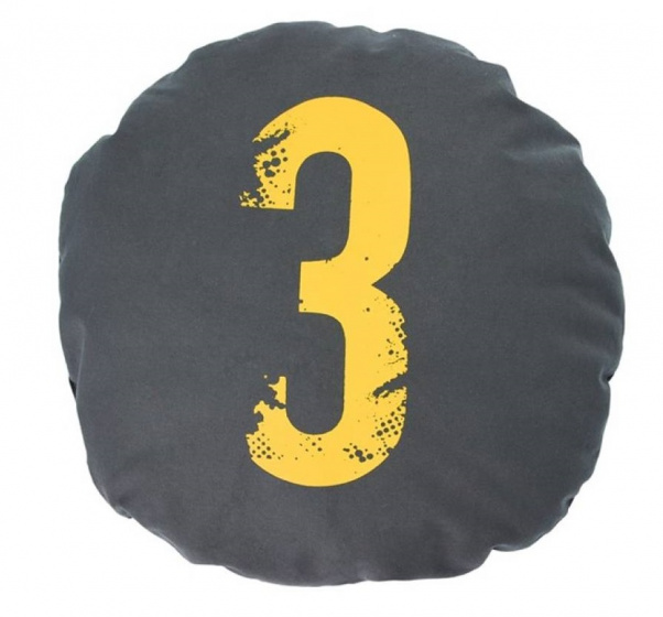 kussen Nummer Drie 45 cm katoen antraciet/geel
