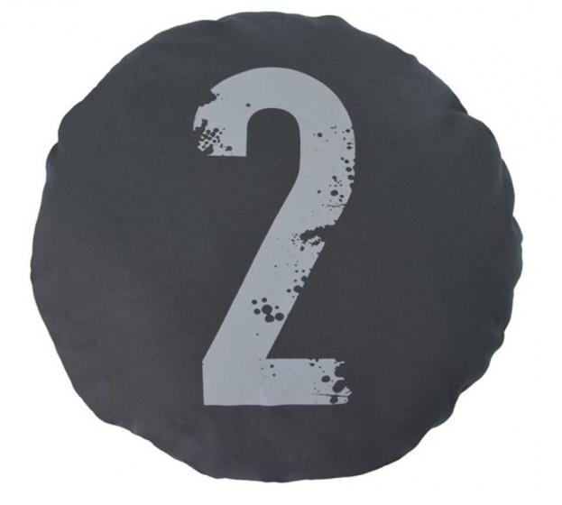 kussen Nummer Twee 45 cm katoen antraciet