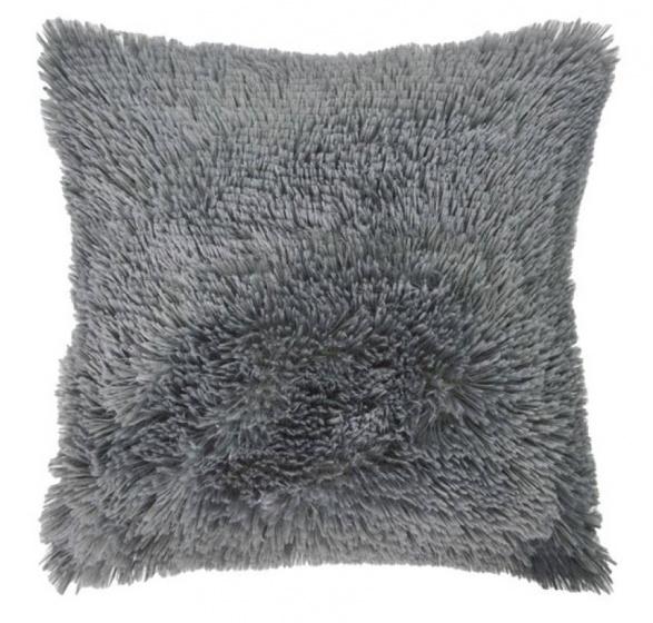 kussen Shaggy 50 x 50 cm textiel antraciet