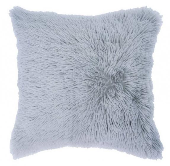 kussen Shaggy 50 x 50 cm textiel grijs
