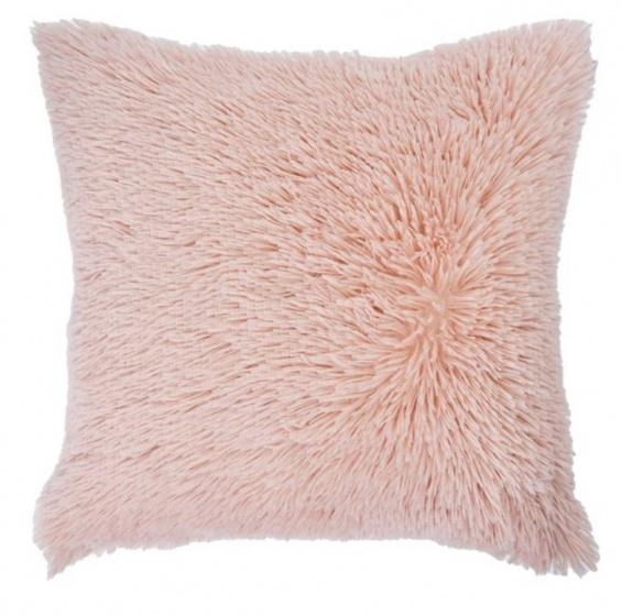 kussen Shaggy 50 x 50 cm textiel roze