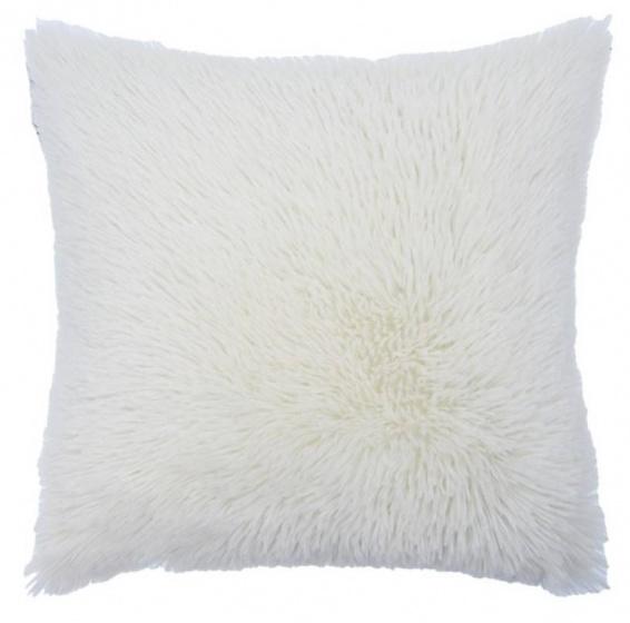 kussen Shaggy 50 x 50 cm textiel wit