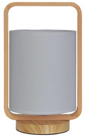 tafellamp 13,5 x 33 cm hout/glas lichtbruin/wit