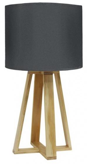 tafellamp 48 cm hout/textiel antraciet/lichtbruin