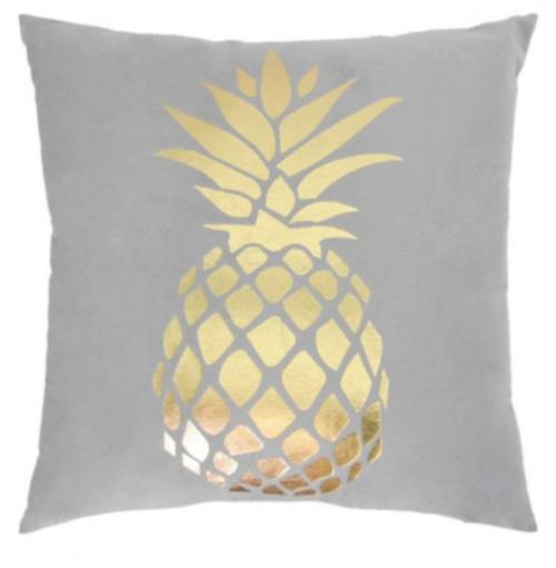 sierkussen ananas 45 x 45 cm textiel grijs/goud