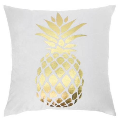 sierkussen ananas 45 x 45 cm textiel wit/goud