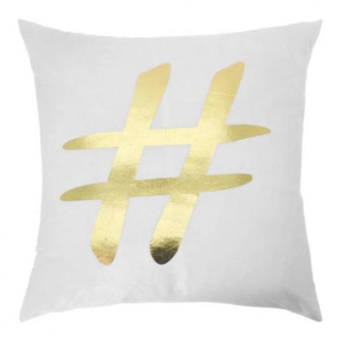 sierkussen Hashtag 45 x 45 cm textiel wit/goud