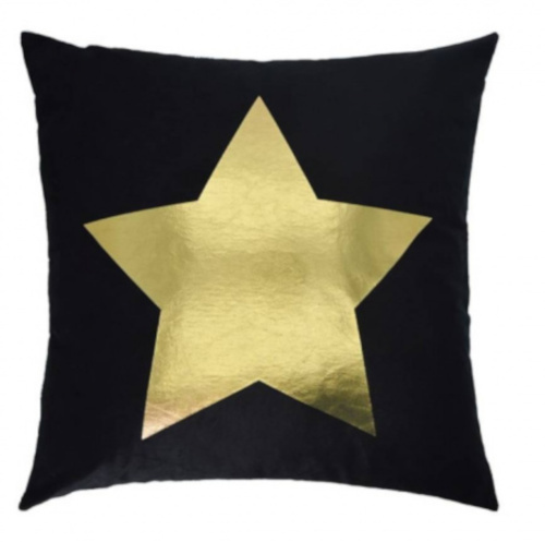 sierkussen Ster 45 x 45 cm textiel zwart/goud
