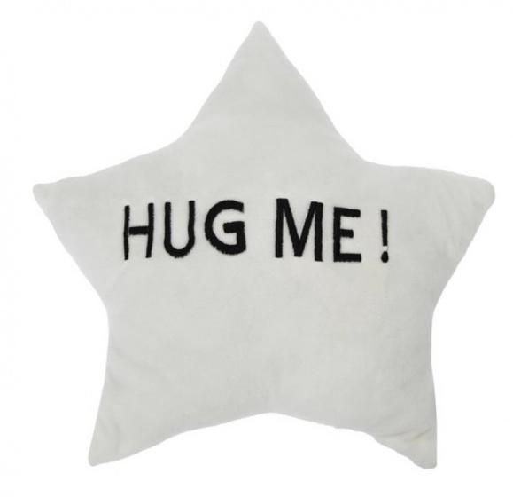 kussen HUG ME! ster 35 x 35 x 10 cm pluche wit