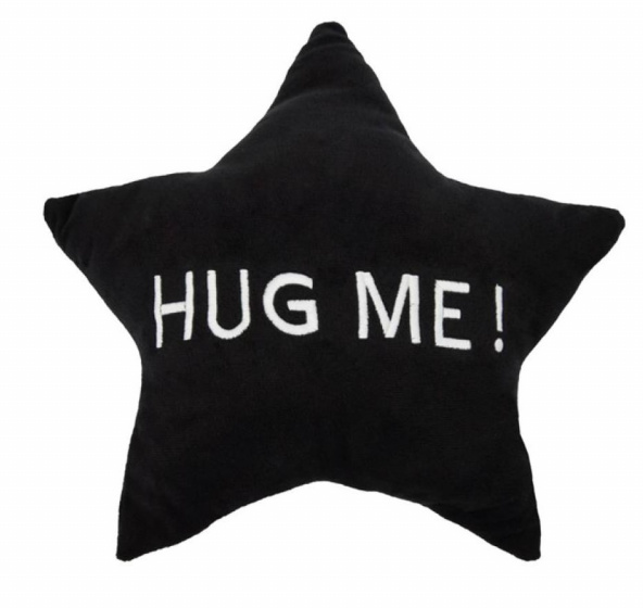 kussen HUG ME! ster 35 x 35 x 10 cm pluche zwart