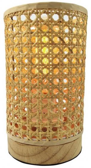 tafellamp 12 x 20,5 cm bamboe lichtbruin