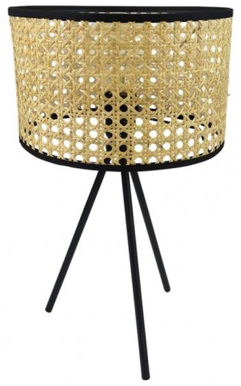 tafellamp 24 x 41 cm bamboe/staal lichtbruin/zwart