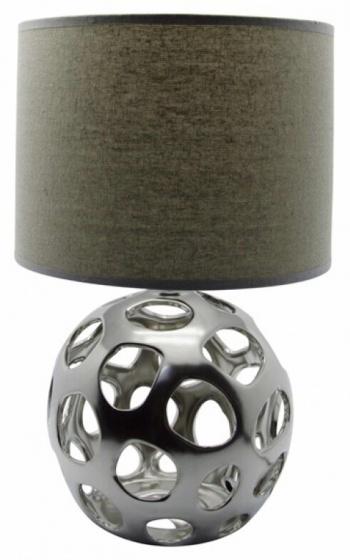 tafellamp 25 x 40 cm keramiek/textiel zilver/bruin