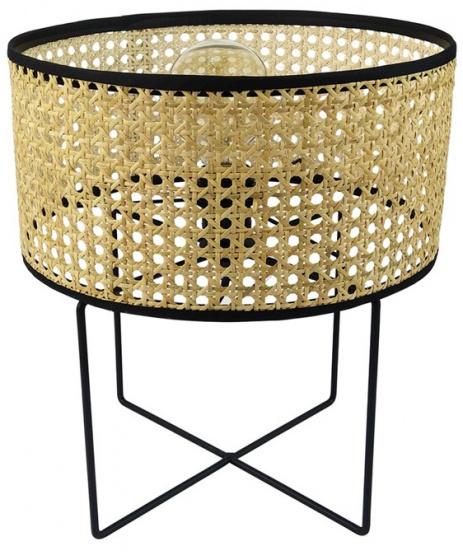 tafellamp 30 x 33 cm bamboe/staal lichtbruin/zwart