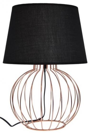 tafellamp 15 x 44,5 cm koper/textiel zwart