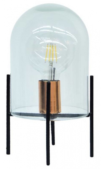 tafellamp led 50 cm staal/glas zwart/transparant