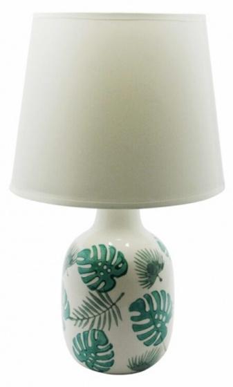 tafellamp Tropical Jungle 41,5 cm keramiek wit/groen