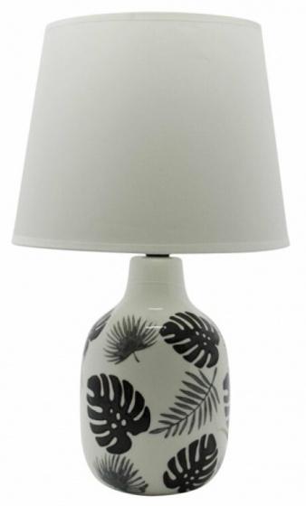 tafellamp Tropical Jungle 41,5 cm keramiek wit/zwart