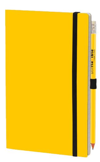 notitieboek 21 x 13 cm papier/karton geel 2-delig