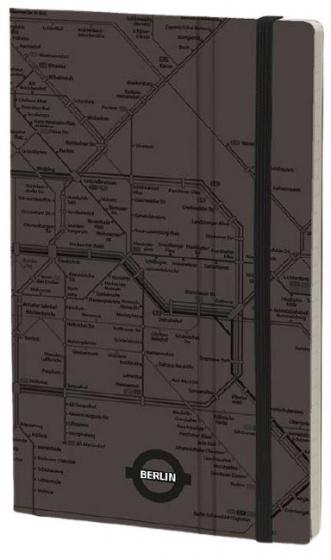 notitieboek Berlin 21 x 13 cm papier/karton grijs