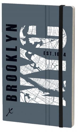 notitieboek Brooklyn 21 x 13 cm karton/papier grijs