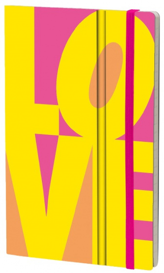 notitieboek Fluo Love 21 x 13 cm karton/papier geel