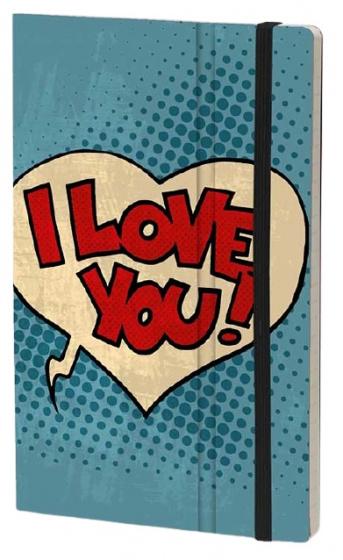 notitieboek I Love You 21 x 13 cm ivoor papier/karton