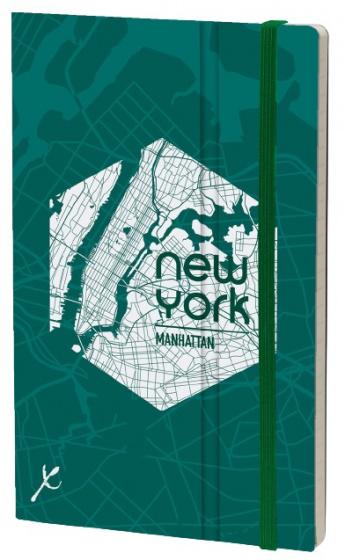 notitieboek Manhattan 21 x 13 cm karton/papier groen