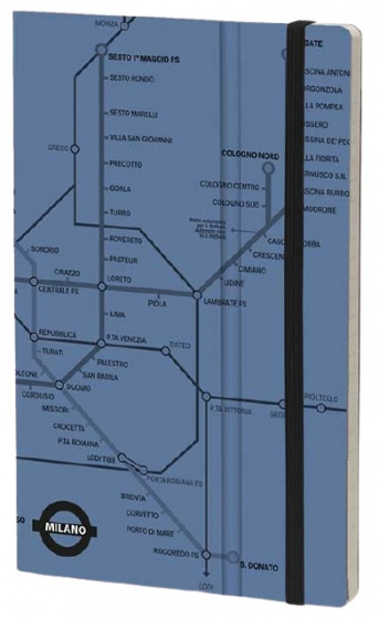 notitieboek Milan 21 x 13 cm papier/karton blauw