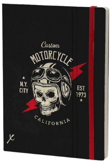 notitieboek Motorcycle 21 x 15 cm karton/papier zwart