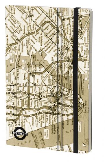 notitieboek NYC Vintage 21 x 13 cm papier/karton beige