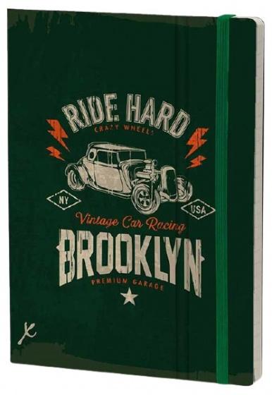 notitieboek Ride Hard 21 x 15 cm karton/papier groen