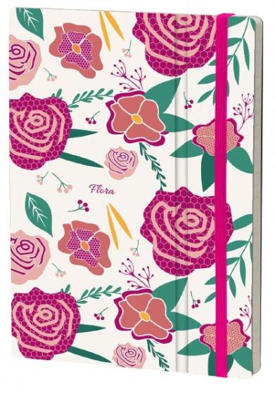 notitieboek Rose 21 x 15 cm karton/ivoor papier