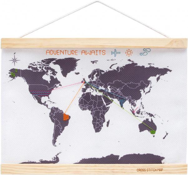kruissteekwereldkaart 39 cm hout/polyester wit 7-delig