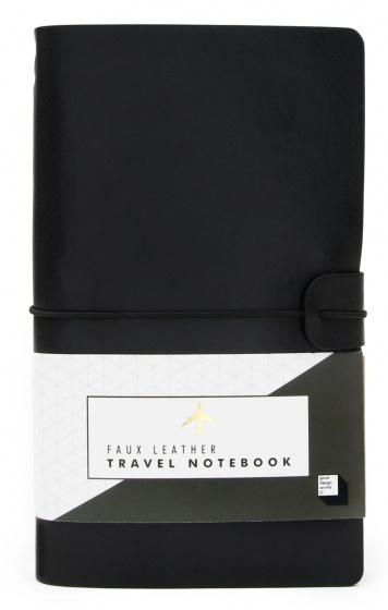 reisnotitieboek 20 x 12,5 cm kunstleer zwart