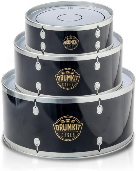 voorraadpotten trommels 19,6 cm tin zwart/wit 3-delig