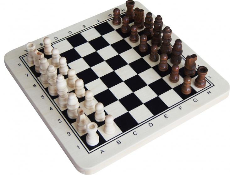 schaakbord 38 x 38 x 2,5 cm hout zwart/wit/bruin