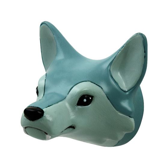 wandhaak Wolf junior 6 cm polystone grijs