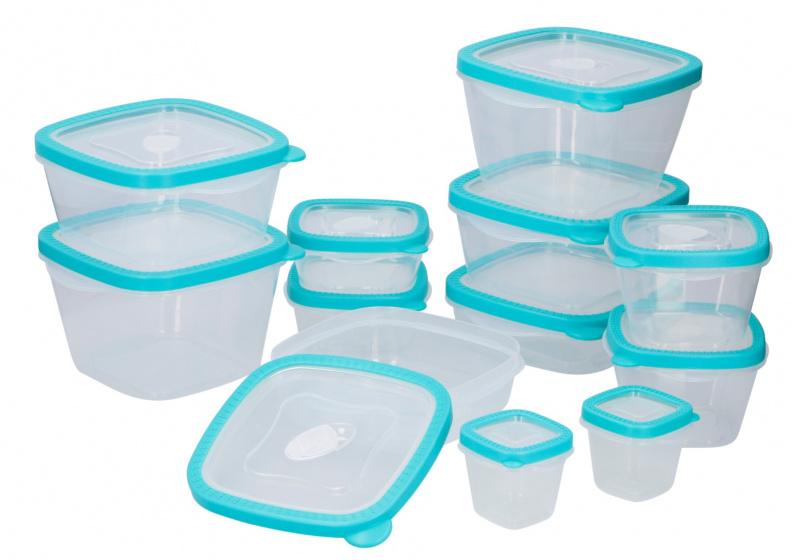 bewaardozenset polypropeen transparant/mintblauw 12 stuks