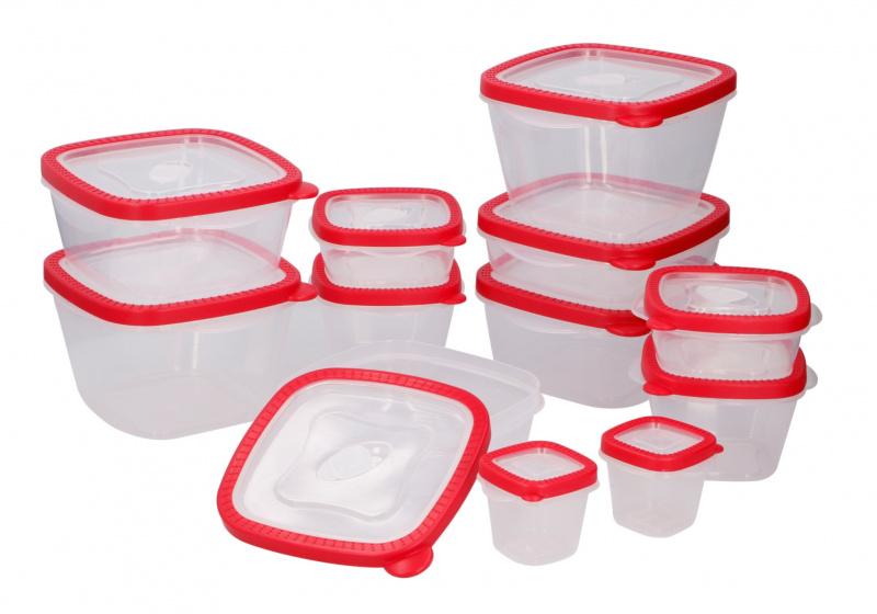bewaardozenset polypropeen transparant/rood 12 stuks