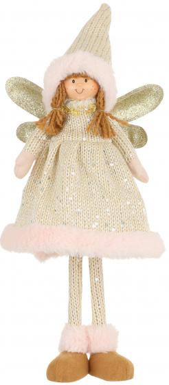 decoratie engel 42 cm polyester roze/goud