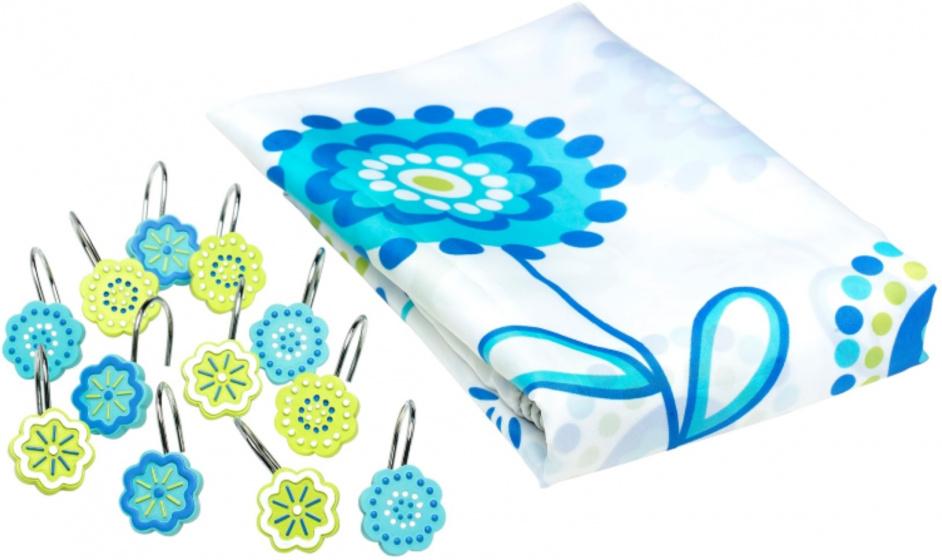 douchegordijn Bloemen 180 cm textiel wit