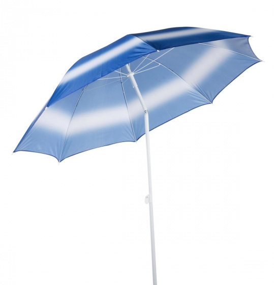 strandparasol 190 cm polybuteen/aluminium wit/blauw