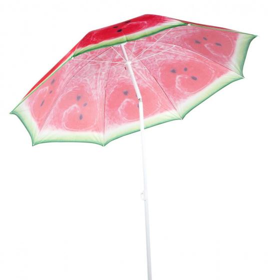 strandparasol Watermeloen 190 cm polybuteen/aluminium rood